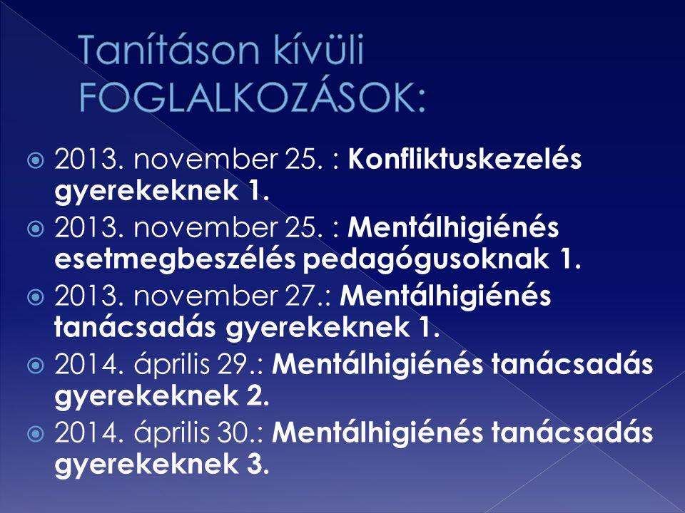  2013. november 25. : Konfliktuskezelés gyerekeknek 1.  2013. november 25. : Mentálhigiénés esetmegbeszélés pedagógusoknak 1.  2013. november 27.: