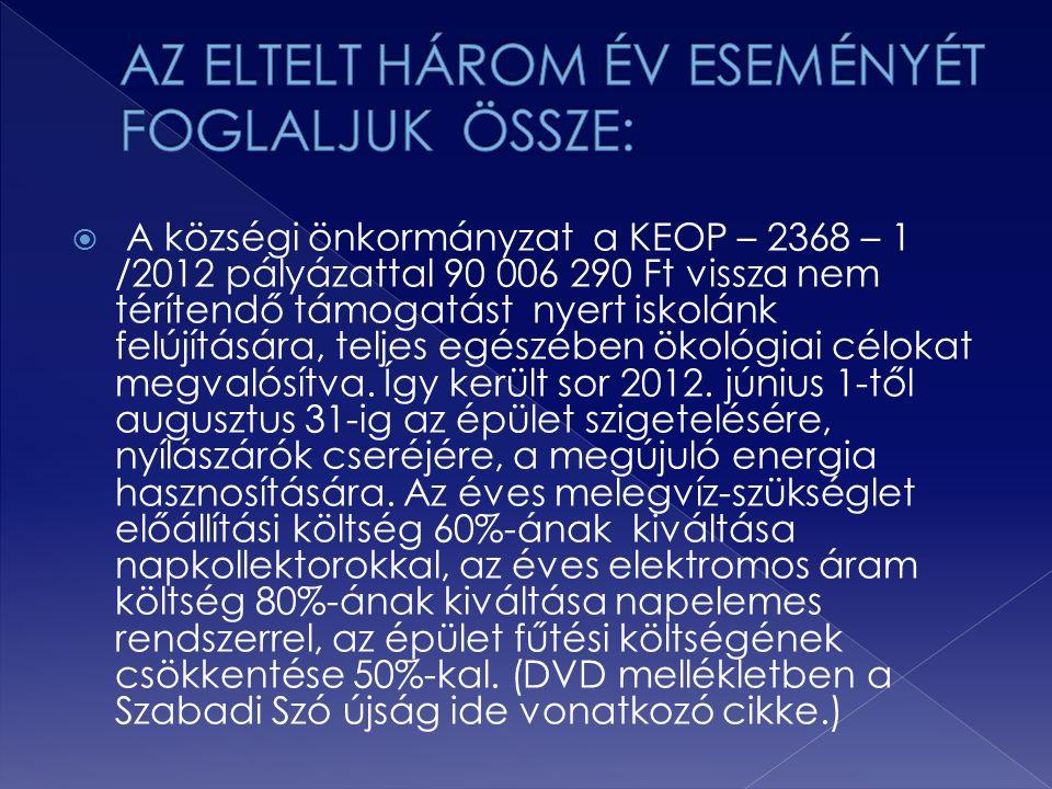  A községi önkormányzat a KEOP – 2368 – 1 /2012 pályázattal 90 006 290 Ft vissza nem térítendő támogatást nyert iskolánk felújítására, teljes egészéb