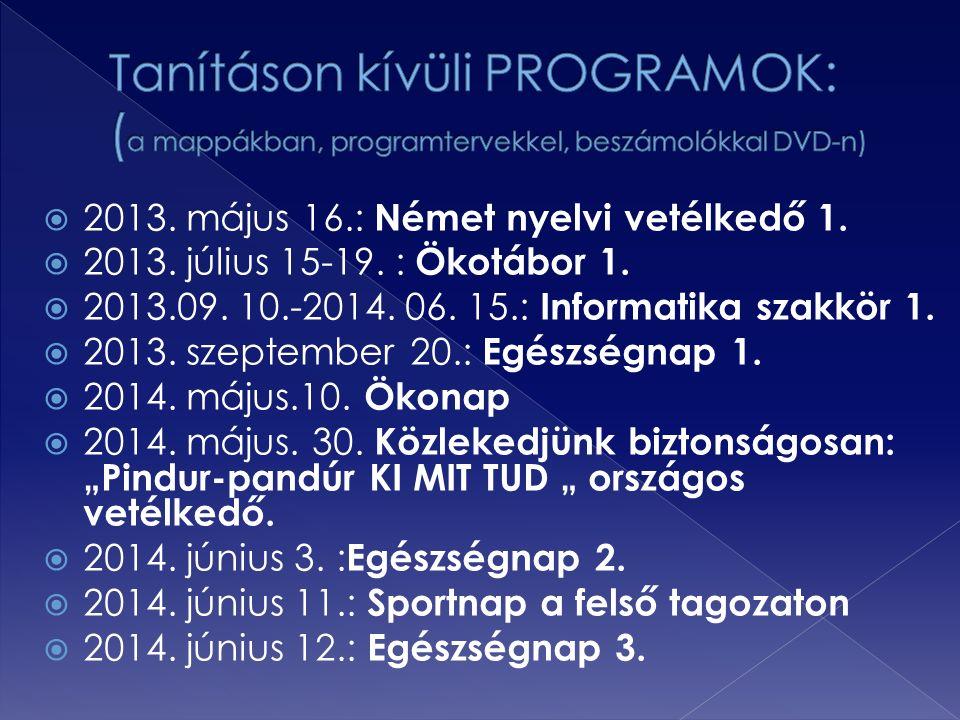  2013. május 16.: Német nyelvi vetélkedő 1.  2013. július 15-19. : Ökotábor 1.  2013.09. 10.-2014. 06. 15.: Informatika szakkör 1.  2013. szeptemb