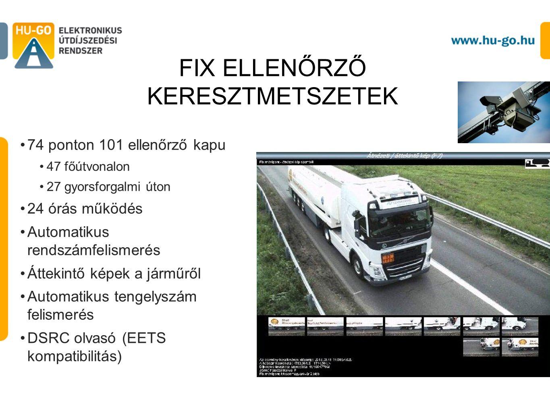 74 ponton 101 ellenőrző kapu 47 főútvonalon 27 gyorsforgalmi úton 24 órás működés Automatikus rendszámfelismerés Áttekintő képek a járműről Automatikus tengelyszám felismerés DSRC olvasó (EETS kompatibilitás) FIX ELLENŐRZŐ KERESZTMETSZETEK