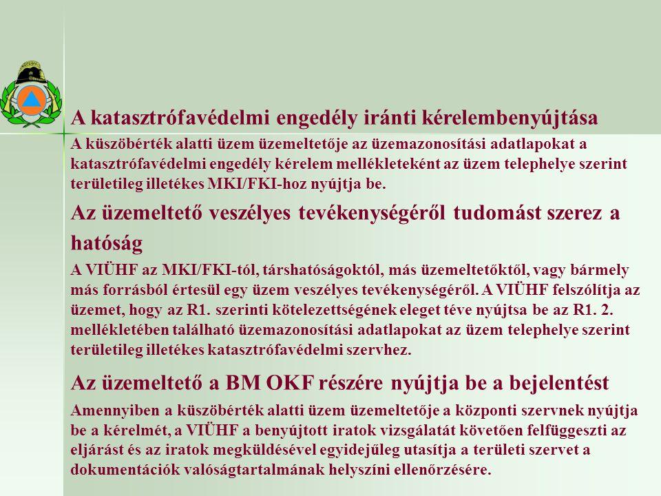 A katasztrófavédelmi engedély iránti kérelembenyújtása A küszöbérték alatti üzem üzemeltetője az üzemazonosítási adatlapokat a katasztrófavédelmi engedély kérelem mellékleteként az üzem telephelye szerint területileg illetékes MKI/FKI-hoz nyújtja be.