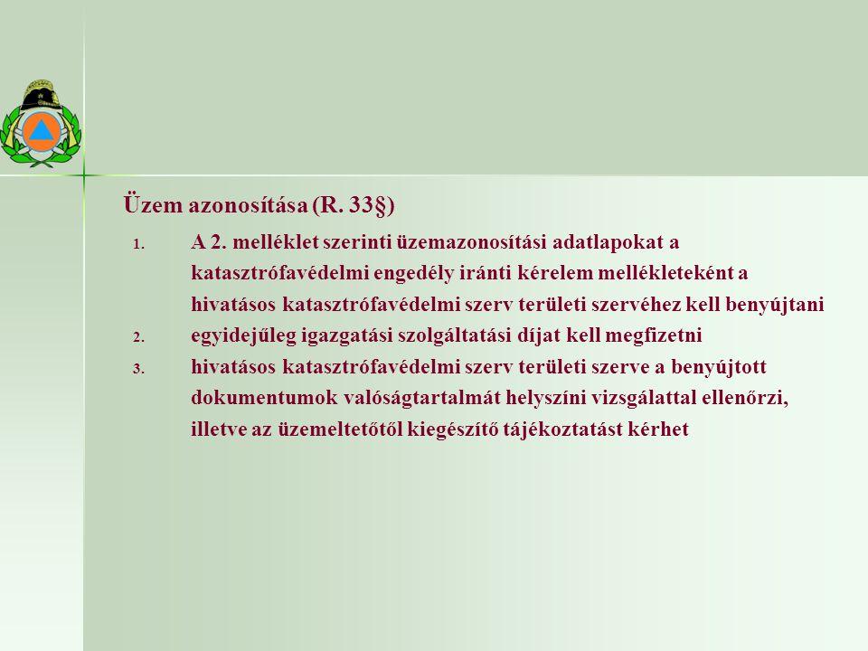Üzem azonosítása (R. 33§) 1. A 2.