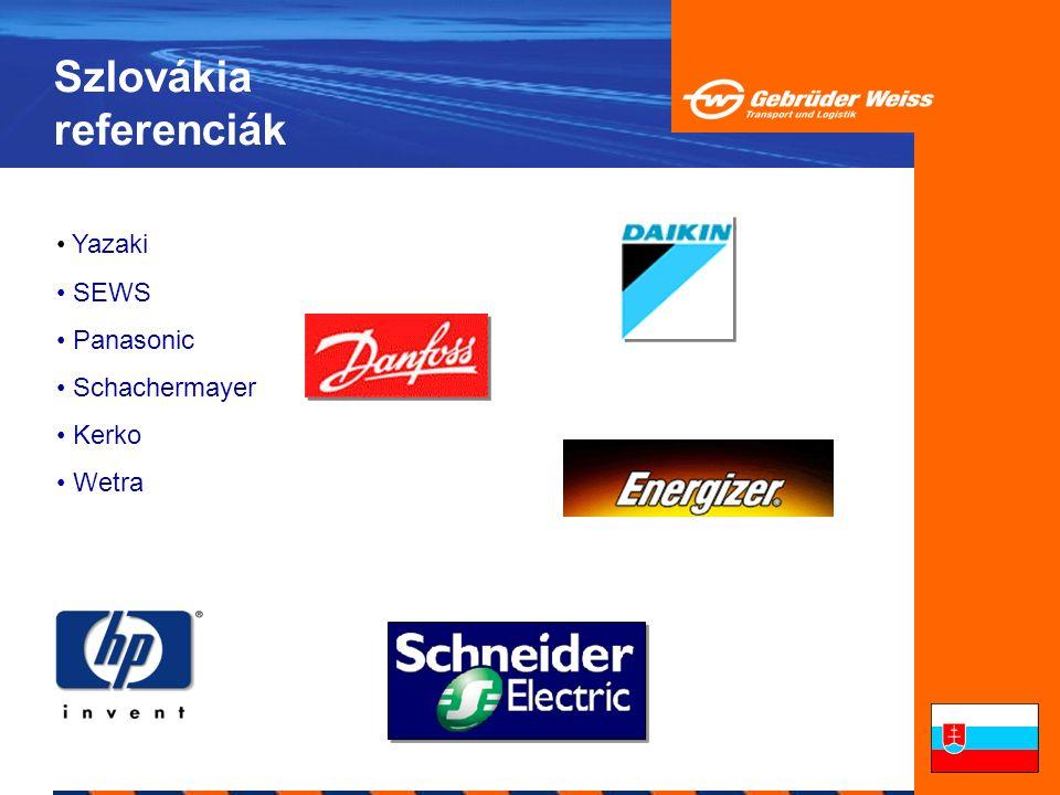 Szlovákia referenciák Yazaki SEWS Panasonic Schachermayer Kerko Wetra