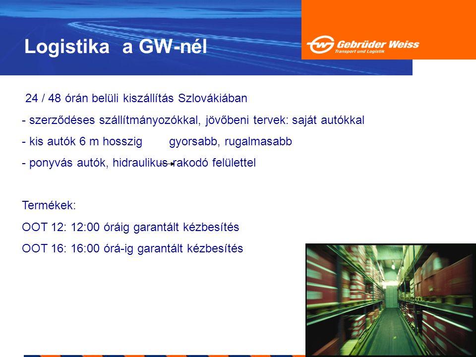 Logistika a GW-nél 24 / 48 órán belüli kiszállítás Szlovákiában - szerződéses szállítmányozókkal, jövőbeni tervek: saját autókkal - kis autók 6 m hoss