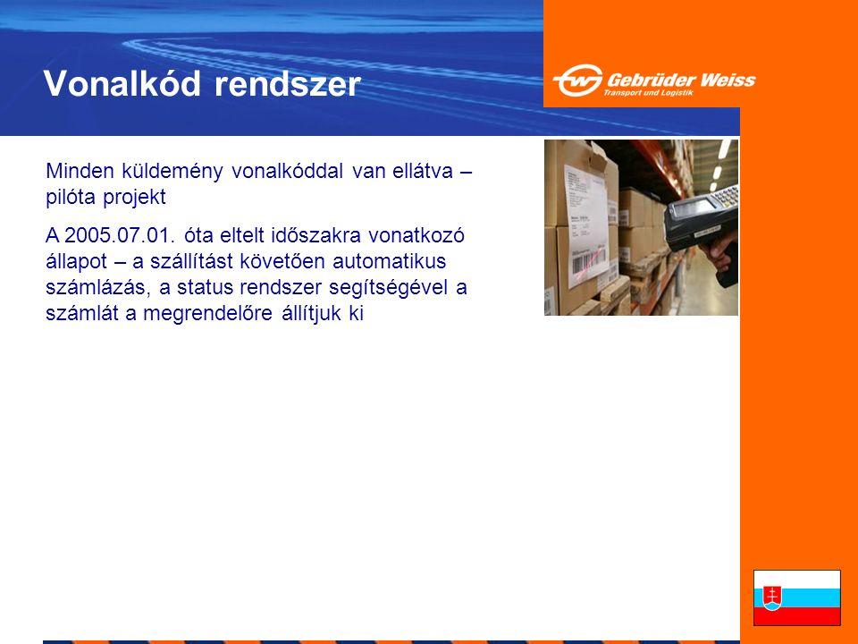 Vonalkód rendszer Minden küldemény vonalkóddal van ellátva – pilóta projekt A 2005.07.01. óta eltelt időszakra vonatkozó állapot – a szállítást követő
