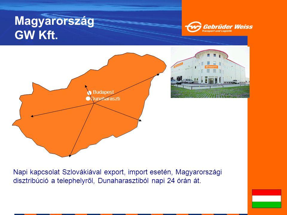 Magyarország GW Kft. Budapest Dunaharaszti Napi kapcsolat Szlovákiával export, import esetén, Magyarországi disztribúció a telephelyről, Dunaharasztib