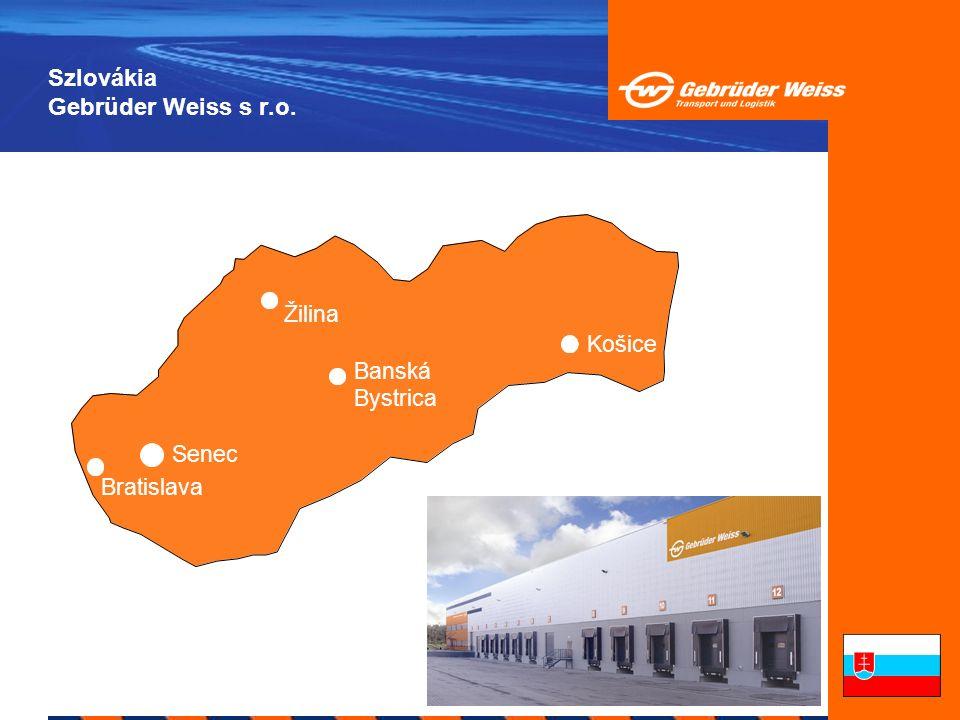 Szlovákia A cég története 1991Gebrüder Weiss cég alapítása Csehszlovákiában, Pozsonyban 1992A nemzetközi gyűjtő szállítmányozás kezdetei 1997A raktárterület növekedése 2.400 m 2-re, közvetlen szállítmányozás Némotország és Olaszország között 2001Képviselet létrehozása Zsolnán 2002Képviselet létrehozása Kassán 2004Szolgáltatások bővítése: OOT12, OOT16 2005Új képviselet Senec-en, raktárterület 5.000 m 2 2005Képviselet létrehozása Besztercebányán SK