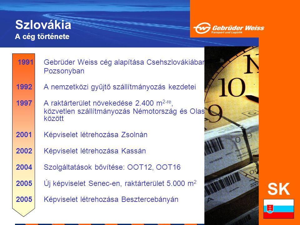 Szlovákia A cég története 1991Gebrüder Weiss cég alapítása Csehszlovákiában, Pozsonyban 1992A nemzetközi gyűjtő szállítmányozás kezdetei 1997A raktárt