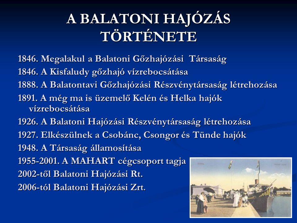 A BALATONI HAJÓZÁS TÖRTÉNETE 1846. Megalakul a Balatoni Gőzhajózási Társaság 1846.