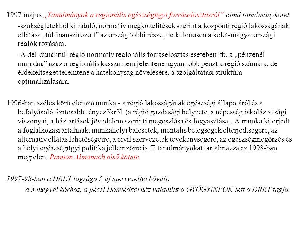 """1997 május """"Tanulmányok a regionális egészségügyi forráselosztásról című tanulmánykötet -szükségletekből kiinduló, normatív megközelítések szerint a központi régió lakosságának ellátása """"túlfinanszírozott az ország többi része, de különösen a kelet-magyarországi régiók rovására."""