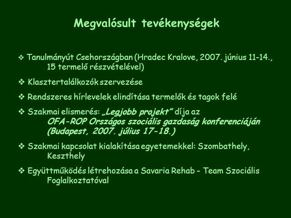 Megvalósult tevékenységek  Tanulmányút Csehországban (Hradec Kralove, 2007. június 11-14., 15 termelő részvételével)   Klasztertalálkozók szervezés