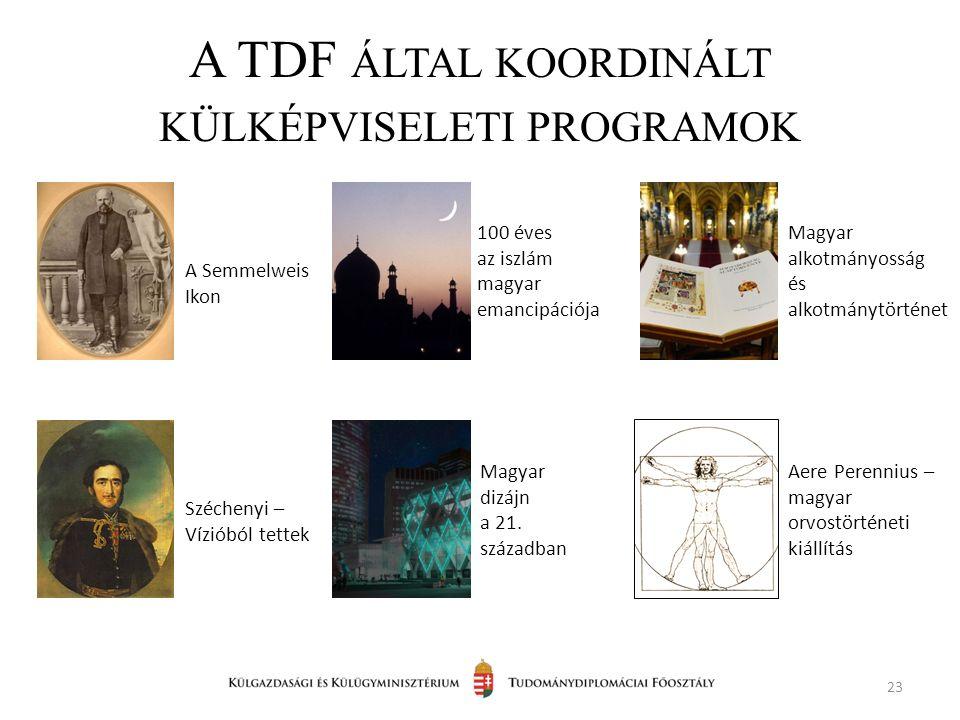 A TDF ÁLTAL KOORDINÁLT KÜLKÉPVISELETI PROGRAMOK 23 A Semmelweis Ikon 100 éves az iszlám magyar emancipációja Széchenyi – Vízióból tettek Magyar dizájn a 21.