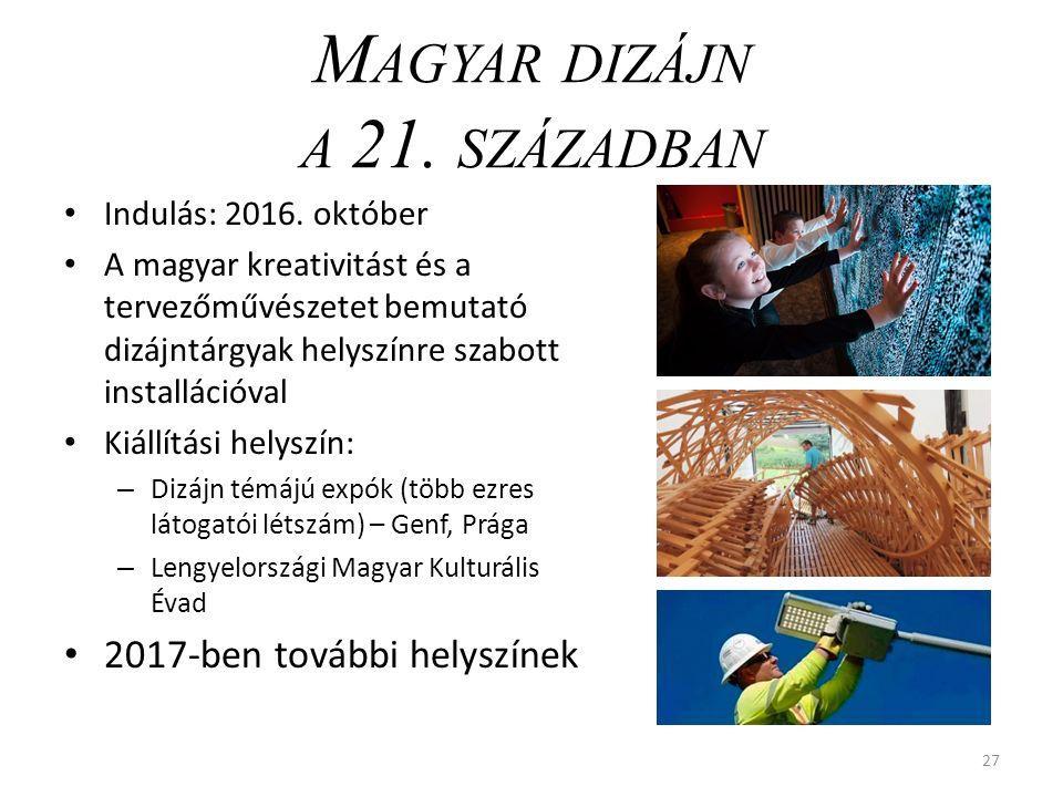 M AGYAR DIZÁJN A 21. SZÁZADBAN Indulás: 2016.