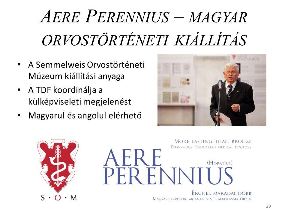 29 A ERE P ERENNIUS – MAGYAR ORVOSTÖRTÉNETI KIÁLLÍTÁS A Semmelweis Orvostörténeti Múzeum kiállítási anyaga A TDF koordinálja a külképviseleti megjelenést Magyarul és angolul elérhető
