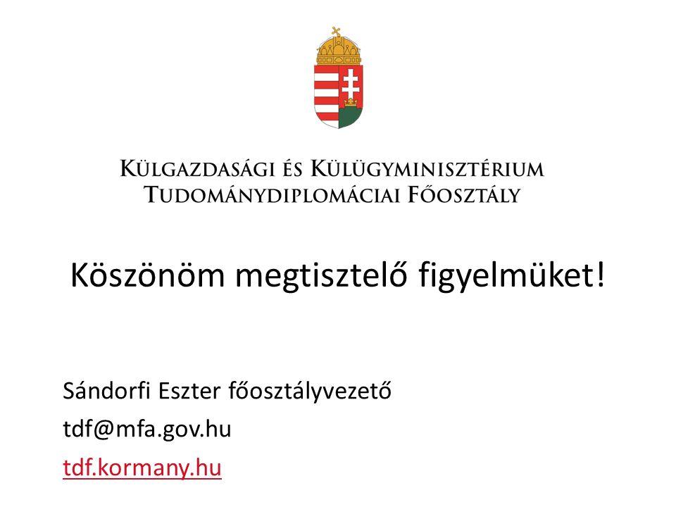Köszönöm megtisztelő figyelmüket! Sándorfi Eszter főosztályvezető tdf@mfa.gov.hu tdf.kormany.hu