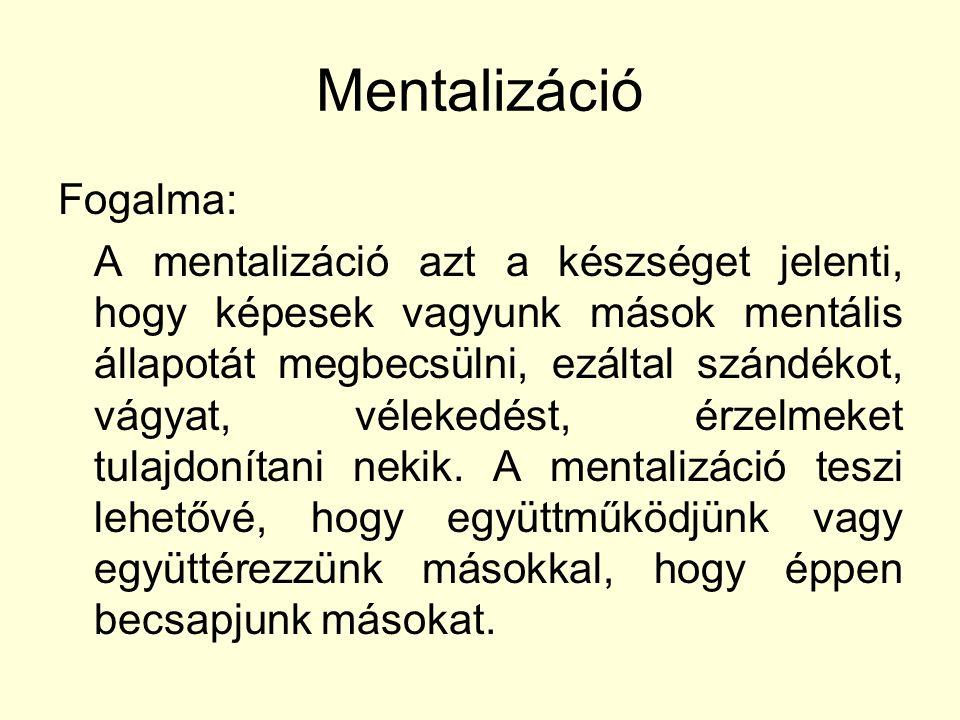 Mentalizáció Fogalma: A mentalizáció azt a készséget jelenti, hogy képesek vagyunk mások mentális állapotát megbecsülni, ezáltal szándékot, vágyat, vélekedést, érzelmeket tulajdonítani nekik.