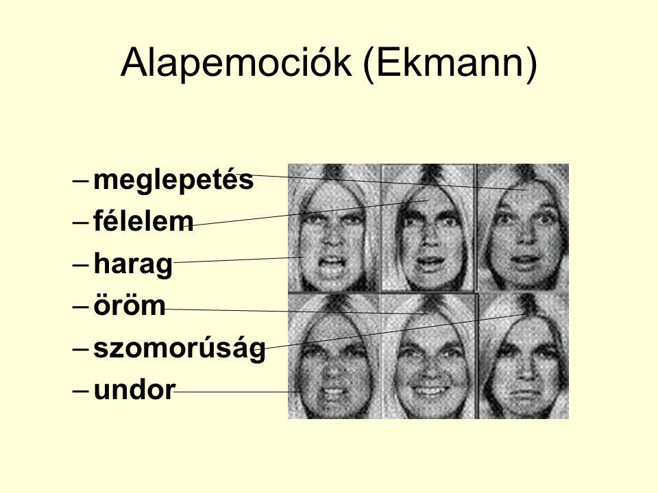 Alapemociók (Ekmann) –meglepetés –félelem –harag –öröm –szomorúság –undor