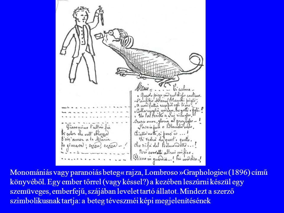 Monomániás vagy paranoiás beteg« rajza, Lombroso »Graphologie« (1896) című könyvéből. Egy ember tőrrel (vagy késsel?) a kezében leszúrni készül egy sz