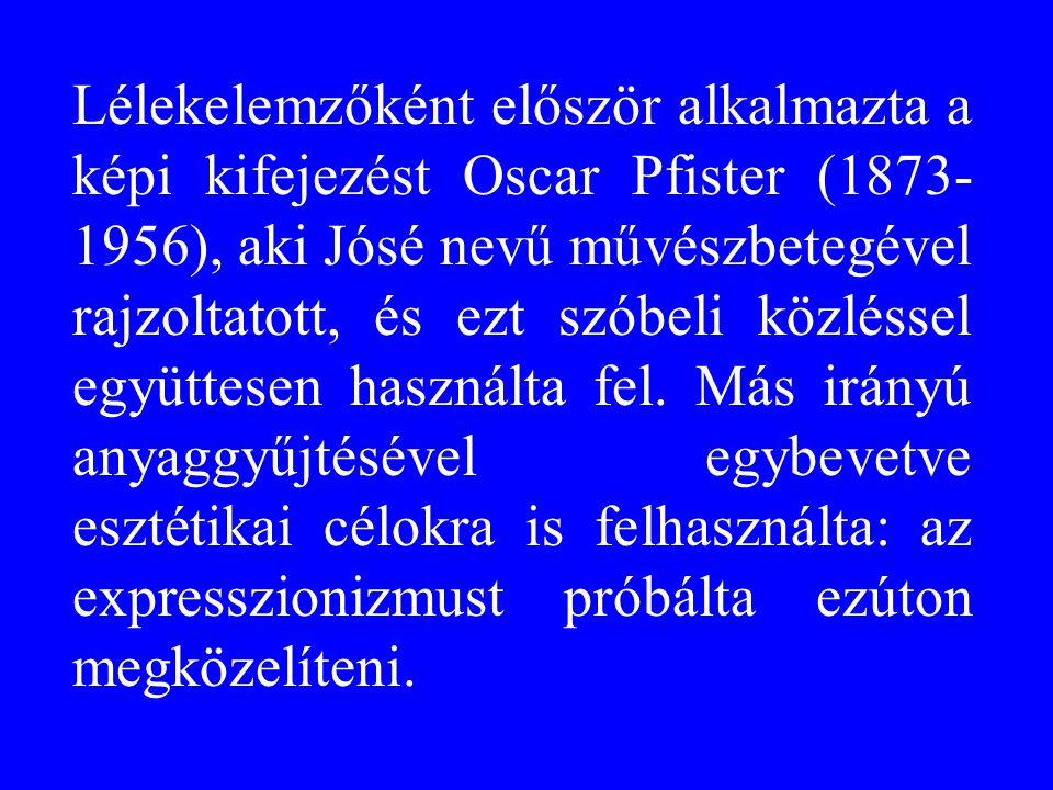 Lélekelemzőként először alkalmazta a képi kifejezést Oscar Pfister (1873- 1956), aki Jósé nevű művészbetegével rajzoltatott, és ezt szóbeli közléssel együttesen használta fel.