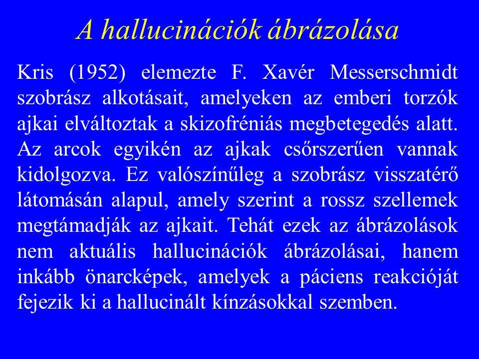A hallucinációk ábrázolása Kris (1952) elemezte F. Xavér Messerschmidt szobrász alkotásait, amelyeken az emberi torzók ajkai elváltoztak a skizofréniá
