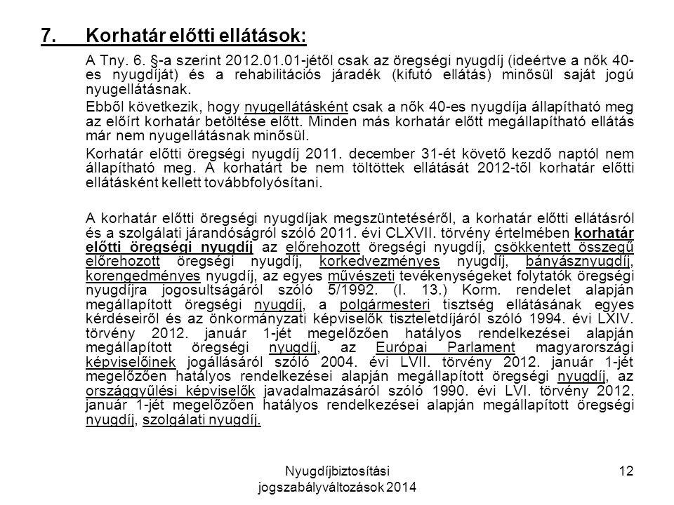 Nyugdíjbiztosítási jogszabályváltozások 2014 12 7.