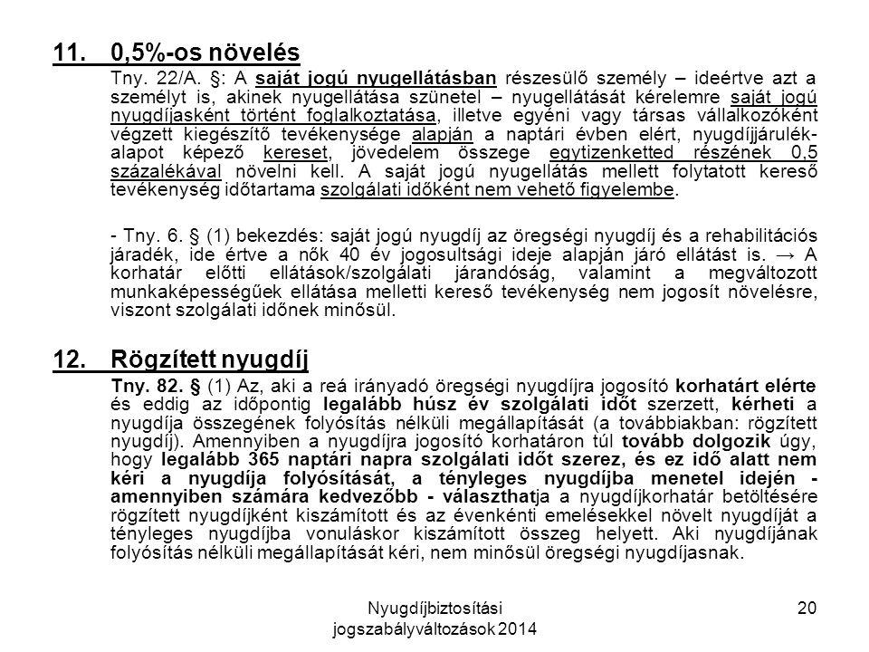 Nyugdíjbiztosítási jogszabályváltozások 2014 20 11.0,5%-os növelés Tny.
