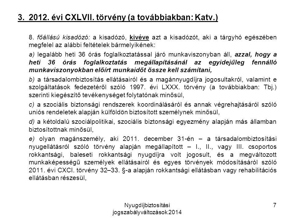 Nyugdíjbiztosítási jogszabályváltozások 2014 7 3. 2012.