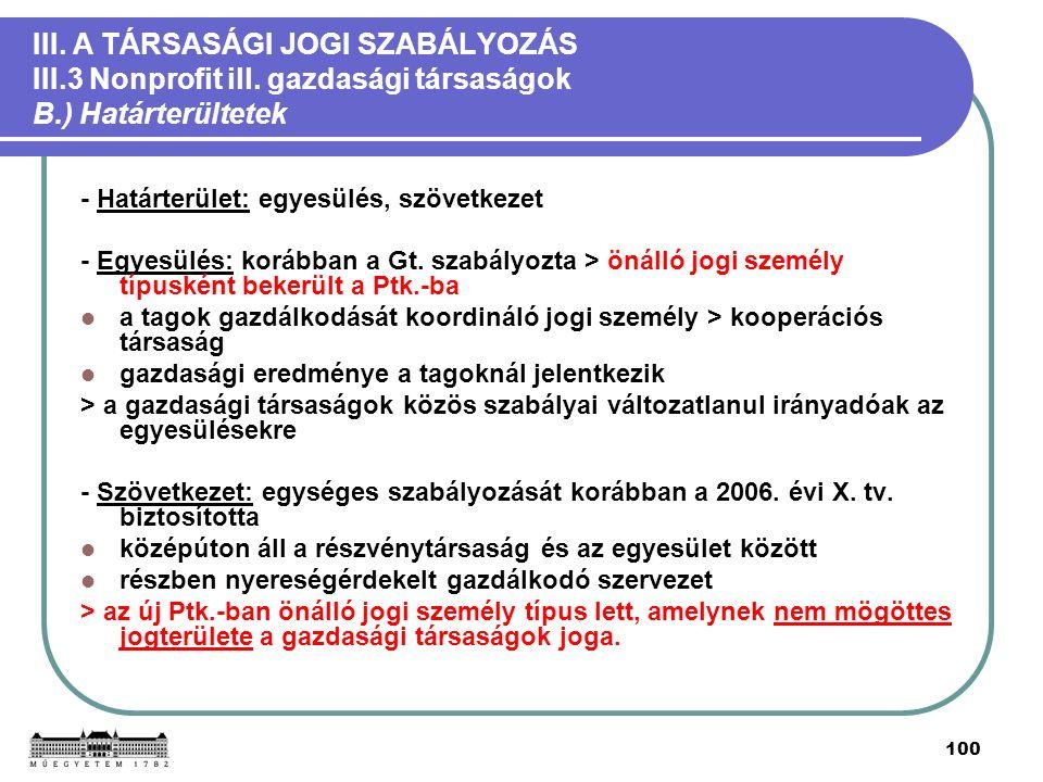 100 III. A TÁRSASÁGI JOGI SZABÁLYOZÁS III.3 Nonprofit ill.