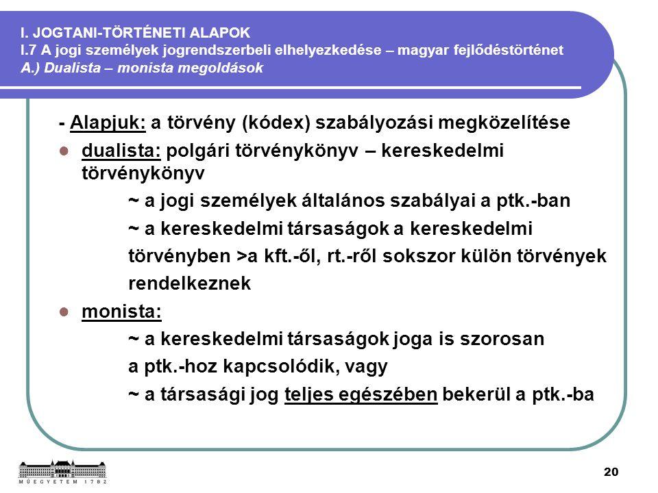 20 I. JOGTANI-TÖRTÉNETI ALAPOK I.7 A jogi személyek jogrendszerbeli elhelyezkedése – magyar fejlődéstörténet A.) Dualista – monista megoldások - Alapj