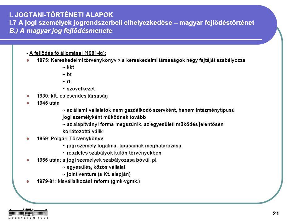 21 I. JOGTANI-TÖRTÉNETI ALAPOK I.7 A jogi személyek jogrendszerbeli elhelyezkedése – magyar fejlődéstörténet B.) A magyar jog fejlődésmenete - A fejlő