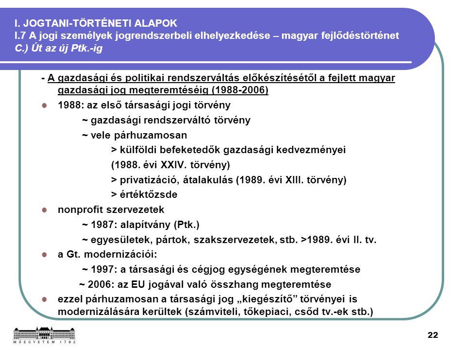 22 I. JOGTANI-TÖRTÉNETI ALAPOK I.7 A jogi személyek jogrendszerbeli elhelyezkedése – magyar fejlődéstörténet C.) Út az új Ptk.-ig - A gazdasági és pol