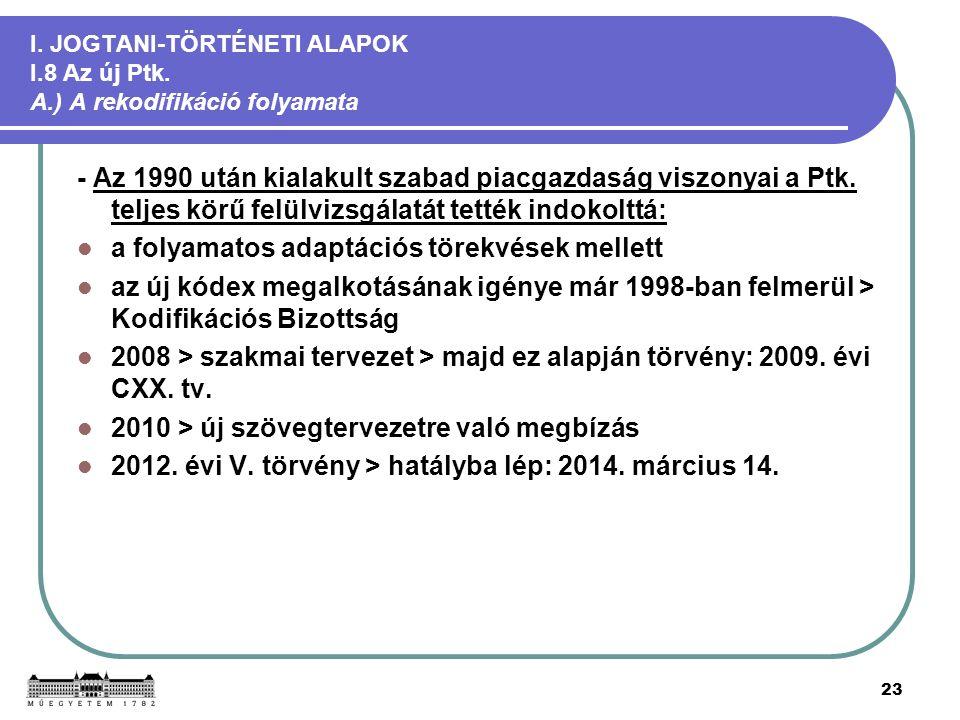 23 I. JOGTANI-TÖRTÉNETI ALAPOK I.8 Az új Ptk. A.) A rekodifikáció folyamata - Az 1990 után kialakult szabad piacgazdaság viszonyai a Ptk. teljes körű