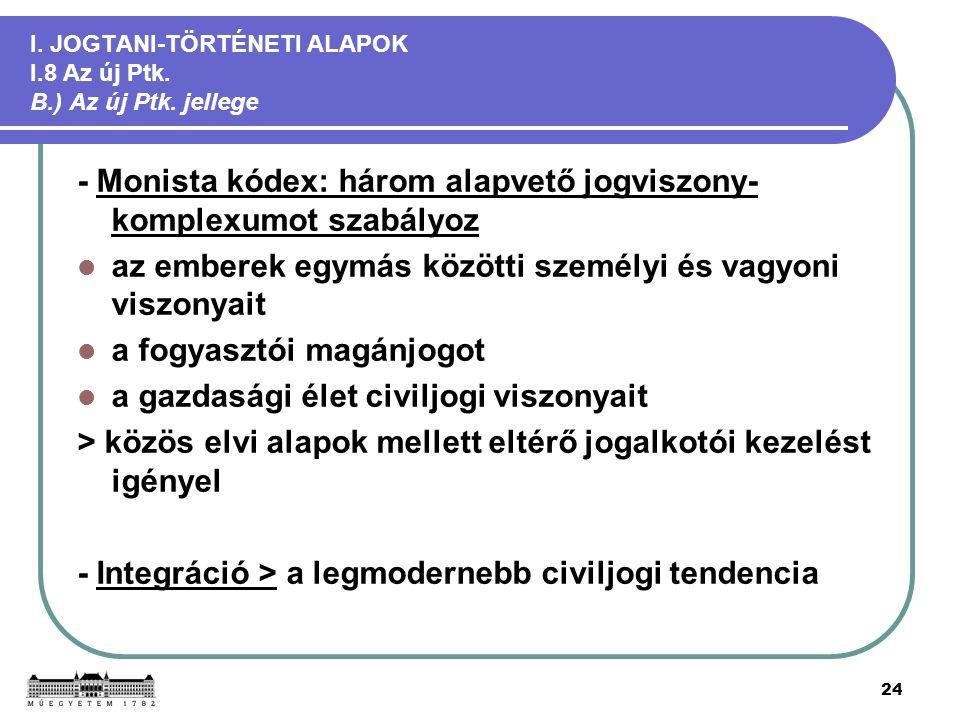 24 I. JOGTANI-TÖRTÉNETI ALAPOK I.8 Az új Ptk. B.) Az új Ptk.