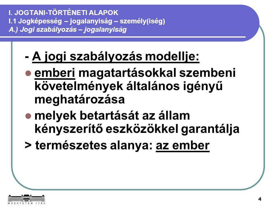 4 I. JOGTANI-TÖRTÉNETI ALAPOK I.1 Jogképesség – jogalanyiság – személy(iség) A.) Jogi szabályozás – jogalanyiság - A jogi szabályozás modellje: emberi