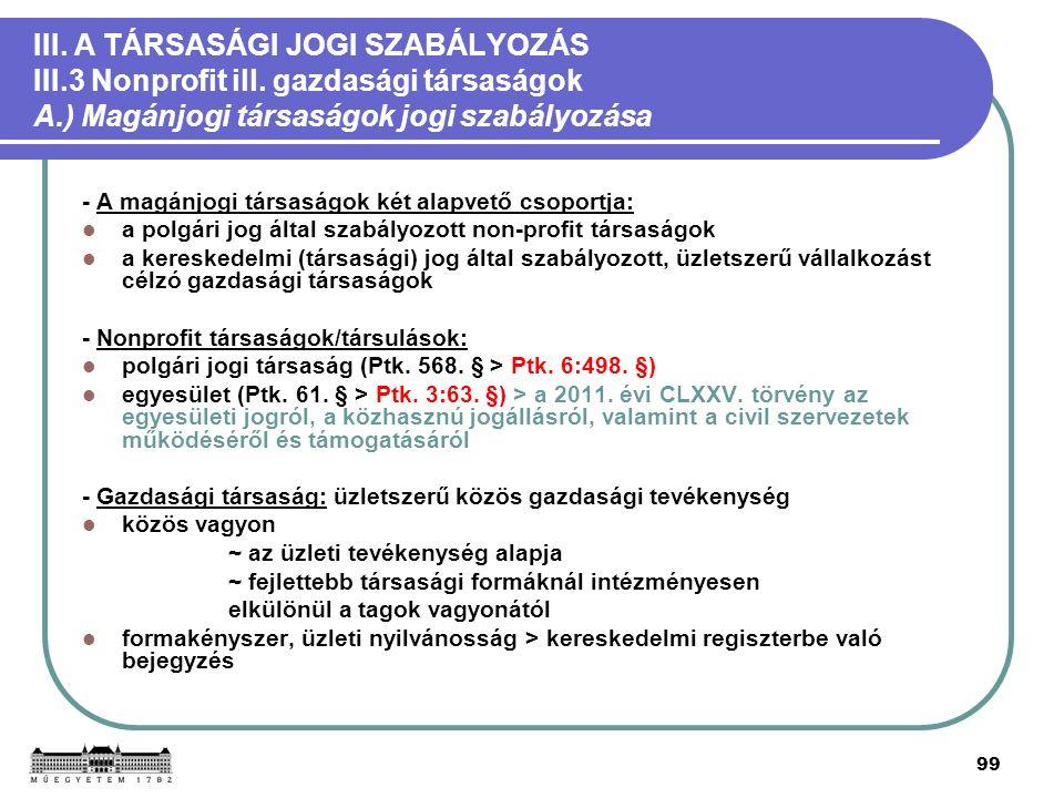 99 III. A TÁRSASÁGI JOGI SZABÁLYOZÁS III.3 Nonprofit ill.