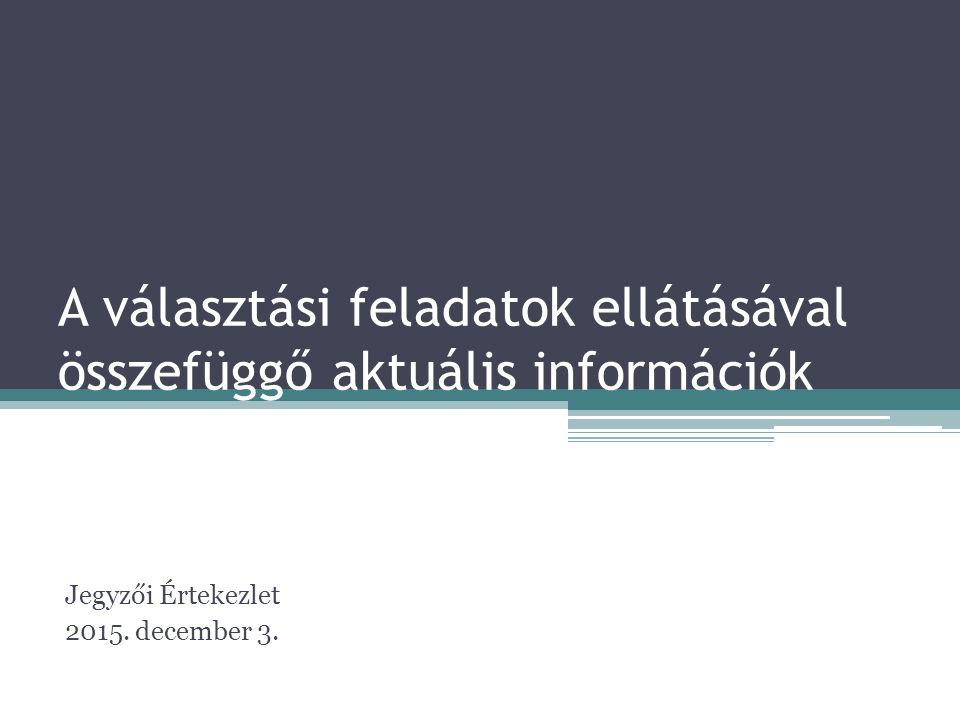 A választási feladatok ellátásával összefüggő aktuális információk Jegyzői Értekezlet 2015.