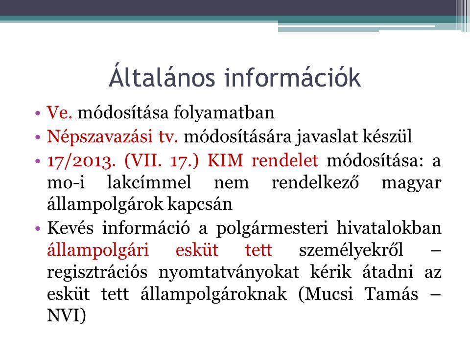Informatikai rendszer kérdése ▫Anyakönyvi feladatok ellátása – választási informatikai hálózat jövője (2018-19-ben túlkoros géppark) ▫NVI-nek vannak saját, mobil, kölcsönözhető ASZA-s gépei (230 db) ▫VÜR-t lecserélik ▫NVR ütemezetten megújul ▫VPIR/VLOG új felületet kap, integrálódik az NVR- be ▫Helyi népszavazások informatikai támogatása ▫NESZA beépül az NVR-be új modulként