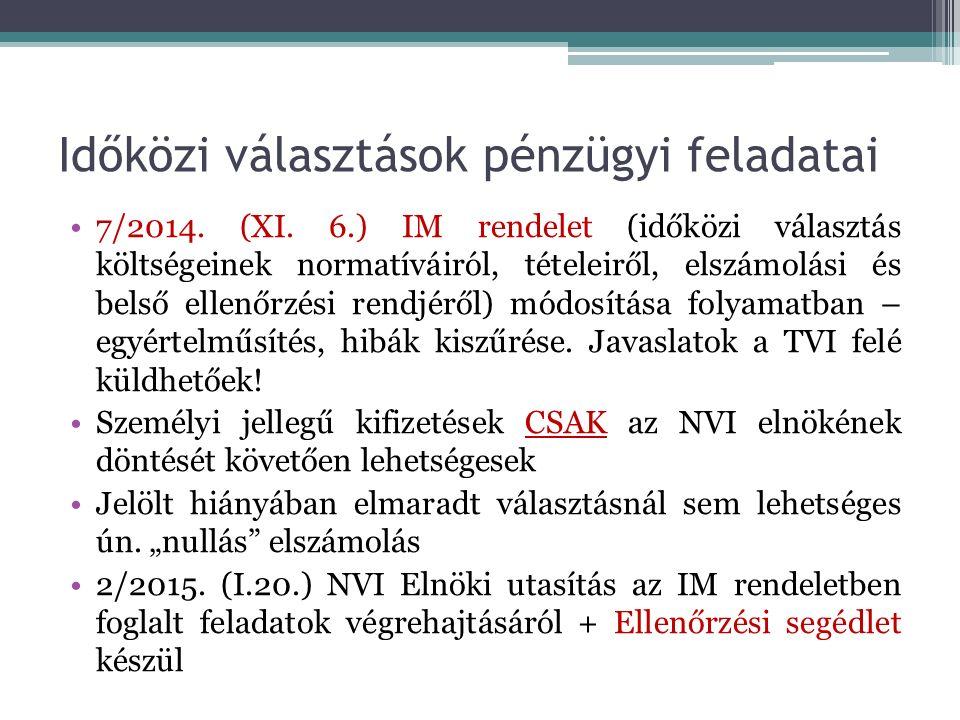Időközi választások pénzügyi feladatai 7/2014. (XI.