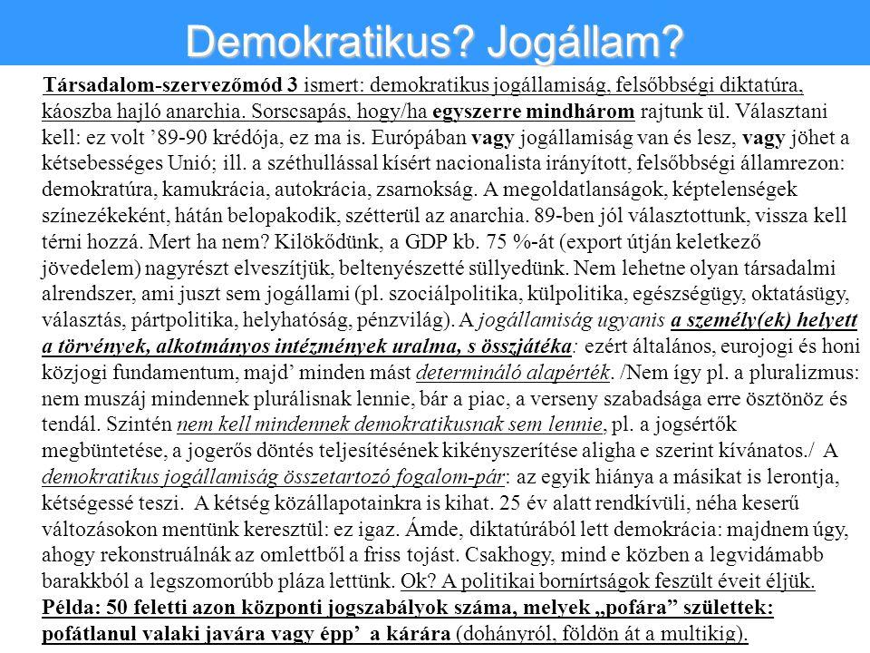 Társadalom-szervezőmód 3 ismert: demokratikus jogállamiság, felsőbbségi diktatúra, káoszba hajló anarchia.