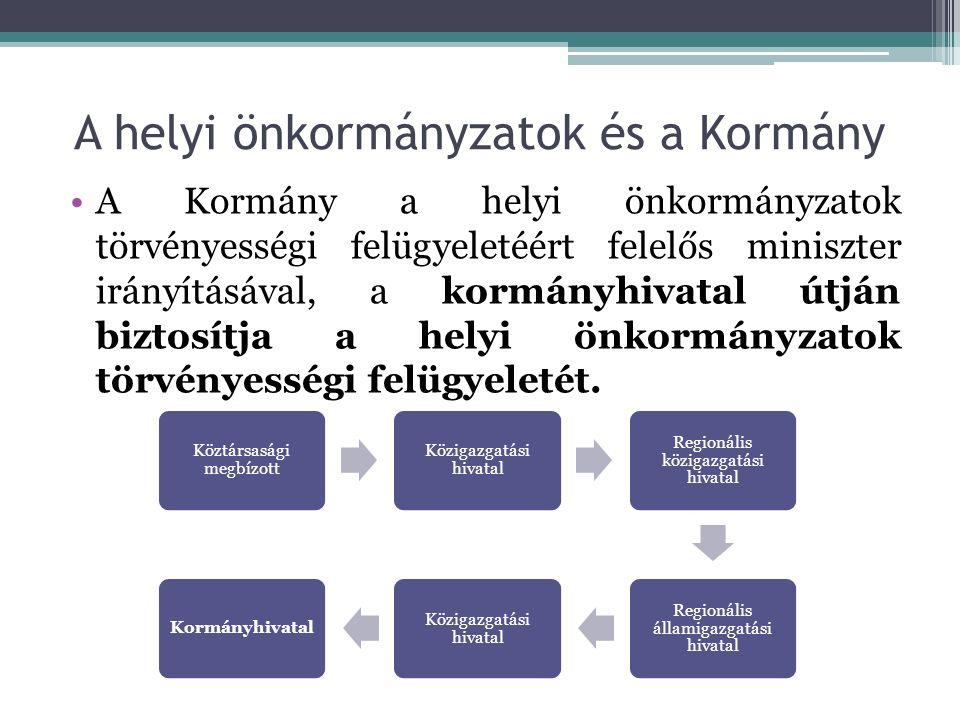 A helyi önkormányzatok és a Kormány A Kormány a helyi önkormányzatok törvényességi felügyeletéért felelős miniszter irányításával, a kormányhivatal útján biztosítja a helyi önkormányzatok törvényességi felügyeletét.