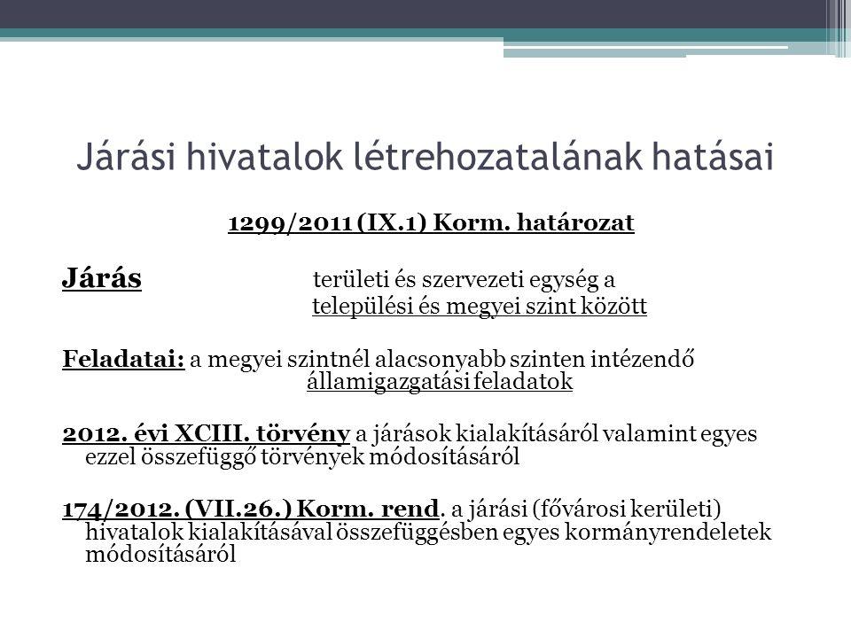 Járási hivatalok létrehozatalának hatásai 1299/2011 (IX.1) Korm.