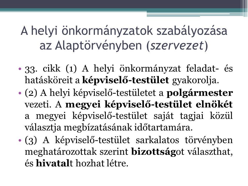 A helyi önkormányzatok szabályozása az Alaptörvényben (szervezet) 33.