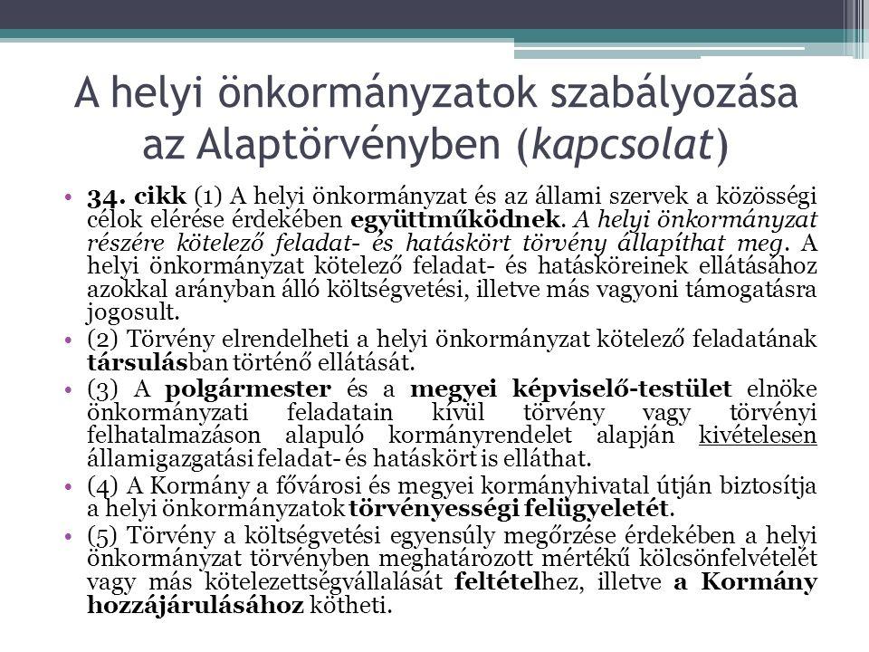 A helyi önkormányzatok szabályozása az Alaptörvényben (kapcsolat) 34.
