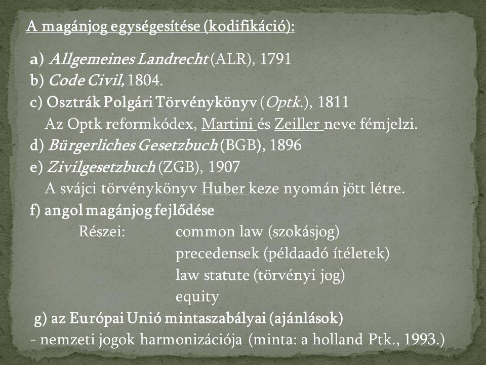 a) Allgemeines Landrecht (ALR), 1791 b) Code Civil, 1804.