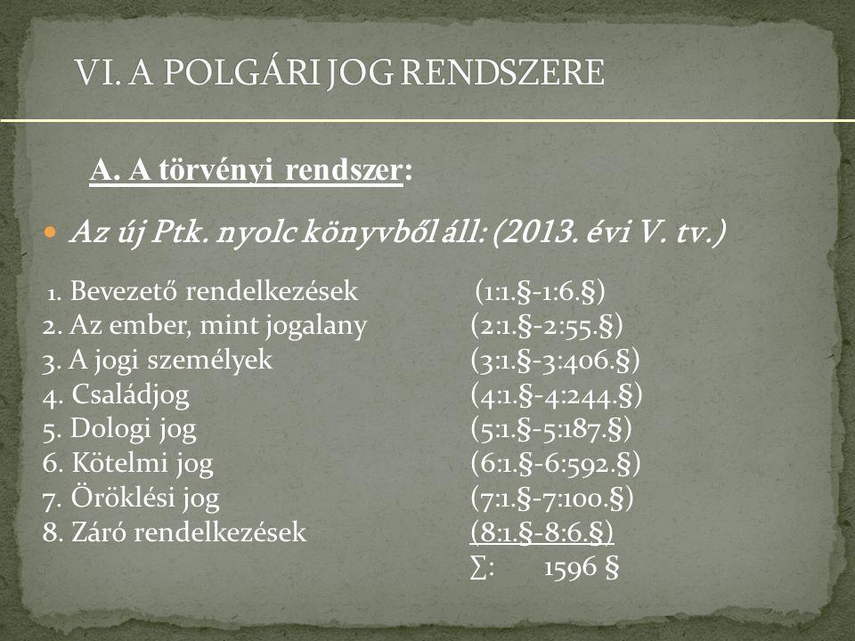 Az új Ptk.nyolc könyvből áll: (2013. évi V. tv.) 1.
