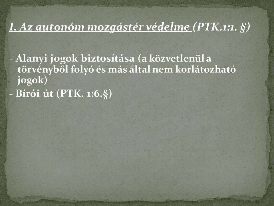 I.Az autonóm mozgástér védelme (PTK.1:1.