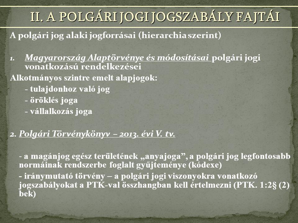 A polgári jog alaki jogforrásai (hierarchia szerint) 1.