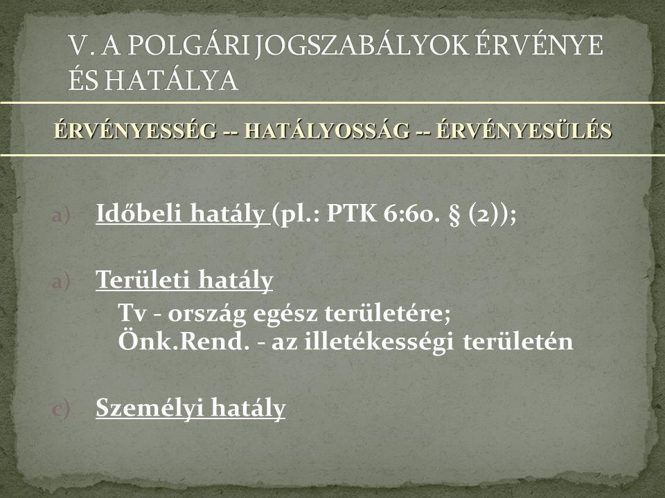 a) Időbeli hatály (pl.: PTK 6:60.