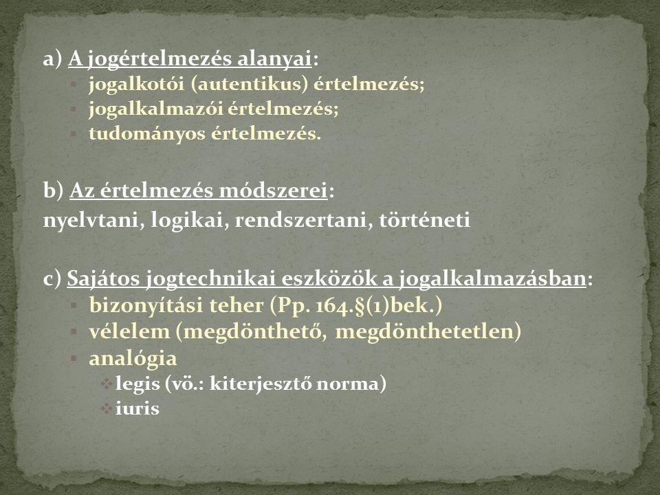 a) A jogértelmezés alanyai:  jogalkotói (autentikus) értelmezés;  jogalkalmazói értelmezés;  tudományos értelmezés.