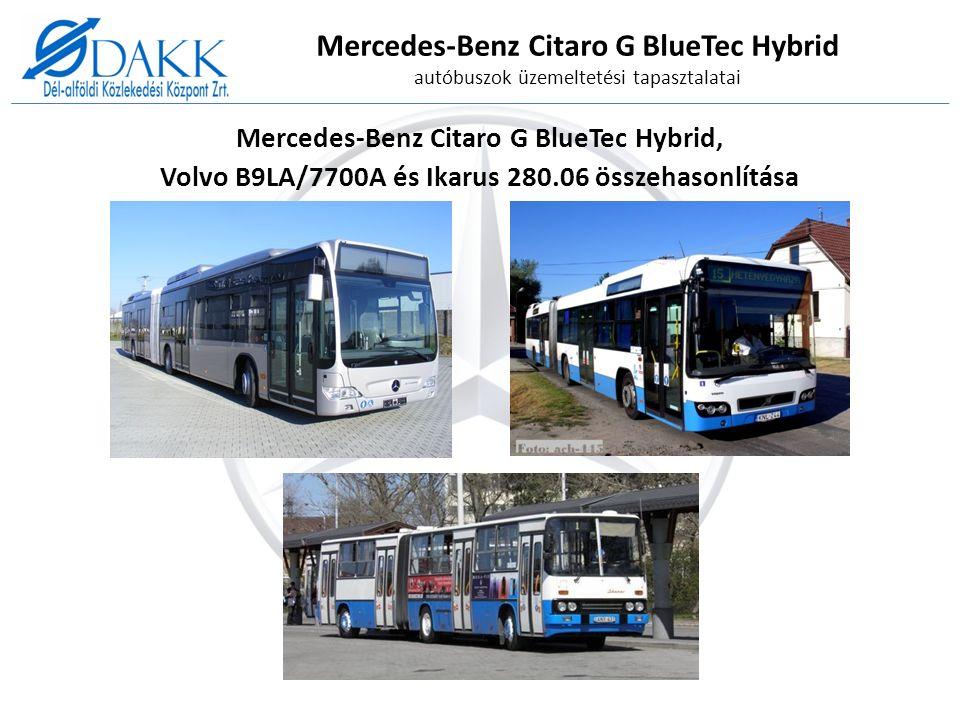 Mercedes-Benz Citaro G BlueTec Hybrid autóbuszok üzemeltetési tapasztalatai Mercedes-Benz Citaro G BlueTec Hybrid, Volvo B9LA/7700A és Ikarus 280.06 összehasonlítása